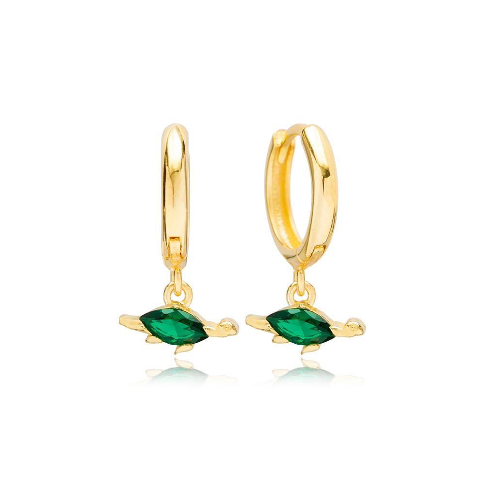 Emerald Turtle Handcraftede Dangle Earrings Turkish Wholesale 925 Sterling Silver Jewelry