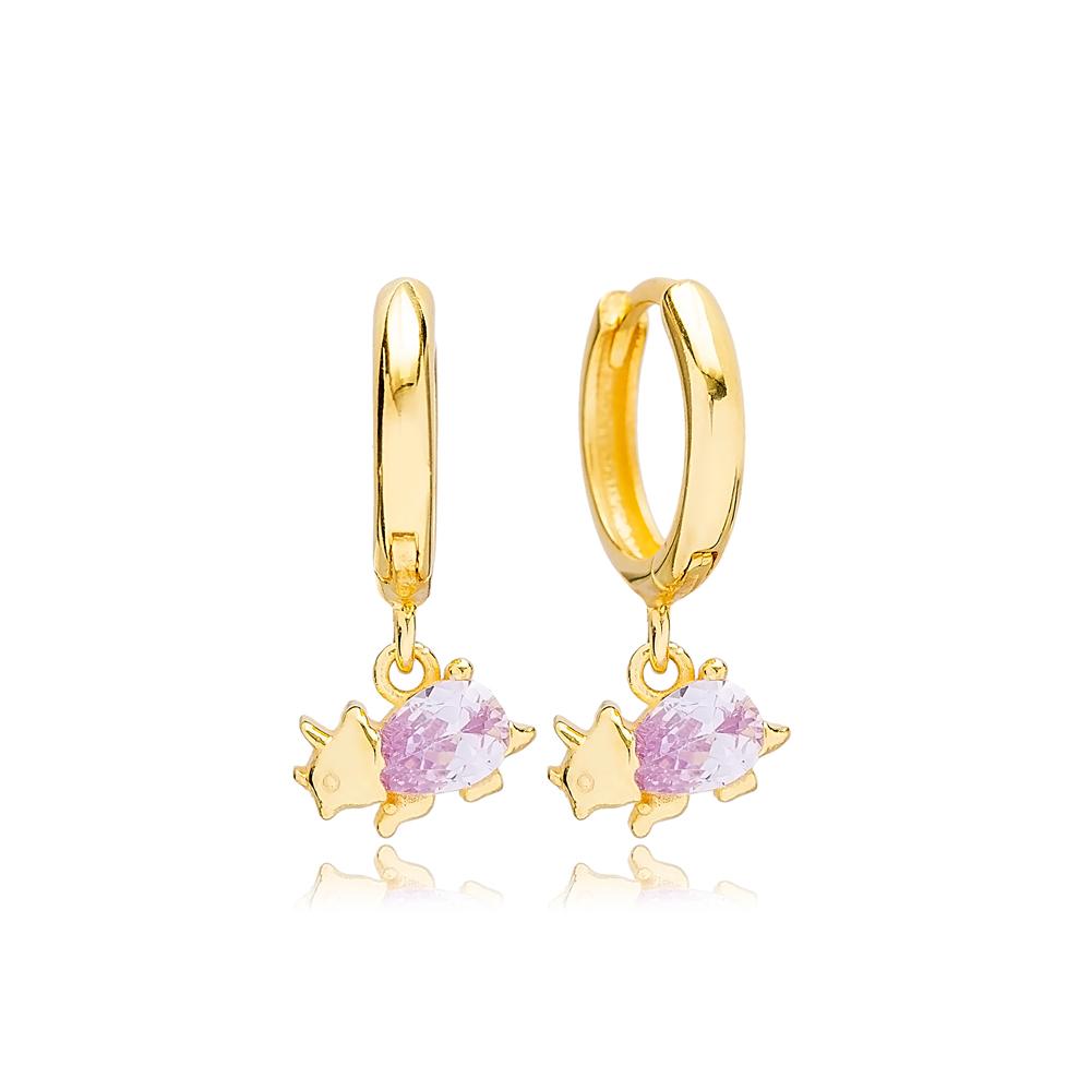 Animal Rhinoceros Design Handmade Turkish Wholesale 925 Sterling Silver Dangle Earrings Jewelry