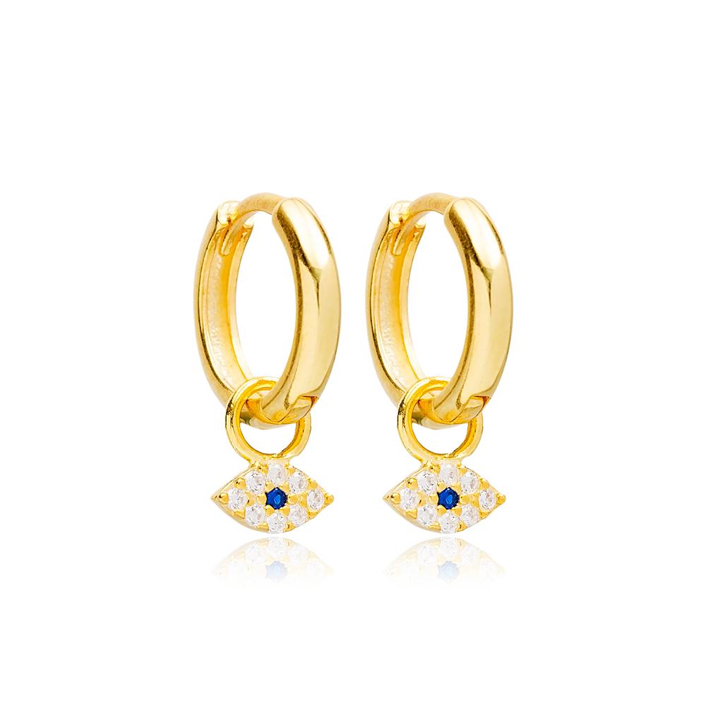 Fashion Evil Eye Design Dangle Earrings Handmade Turkish Wholesale 925 Sterling Silver Jewelry