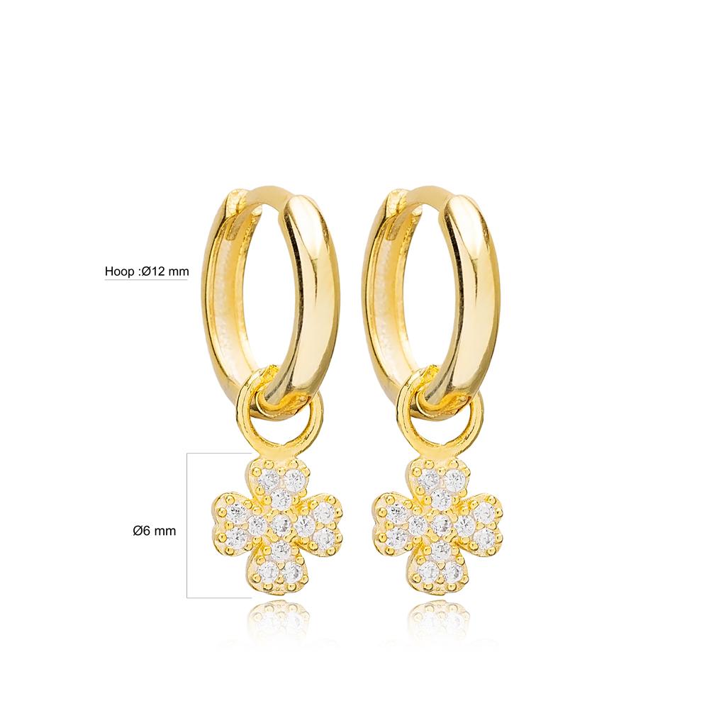 Four Clover Shape Ø12mm Hoop Design Dangle Earrings Handmade Turkish Wholesale 925 Sterling Silver Jewelry