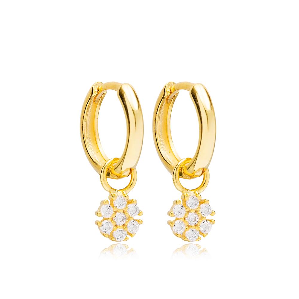 Flower Design Ø12mm Hoop Design Handmade Turkish Wholesale 925 Sterling Silver  Dangle Earrings  Jewelry