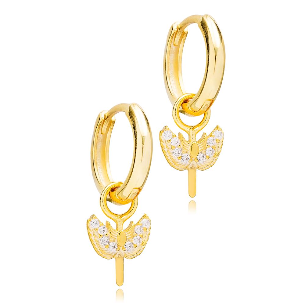 Sword Angel Shape Hoop Design Handmade Turkish Wholesale 925 Sterling Silver Dangle Earrings Jewelry