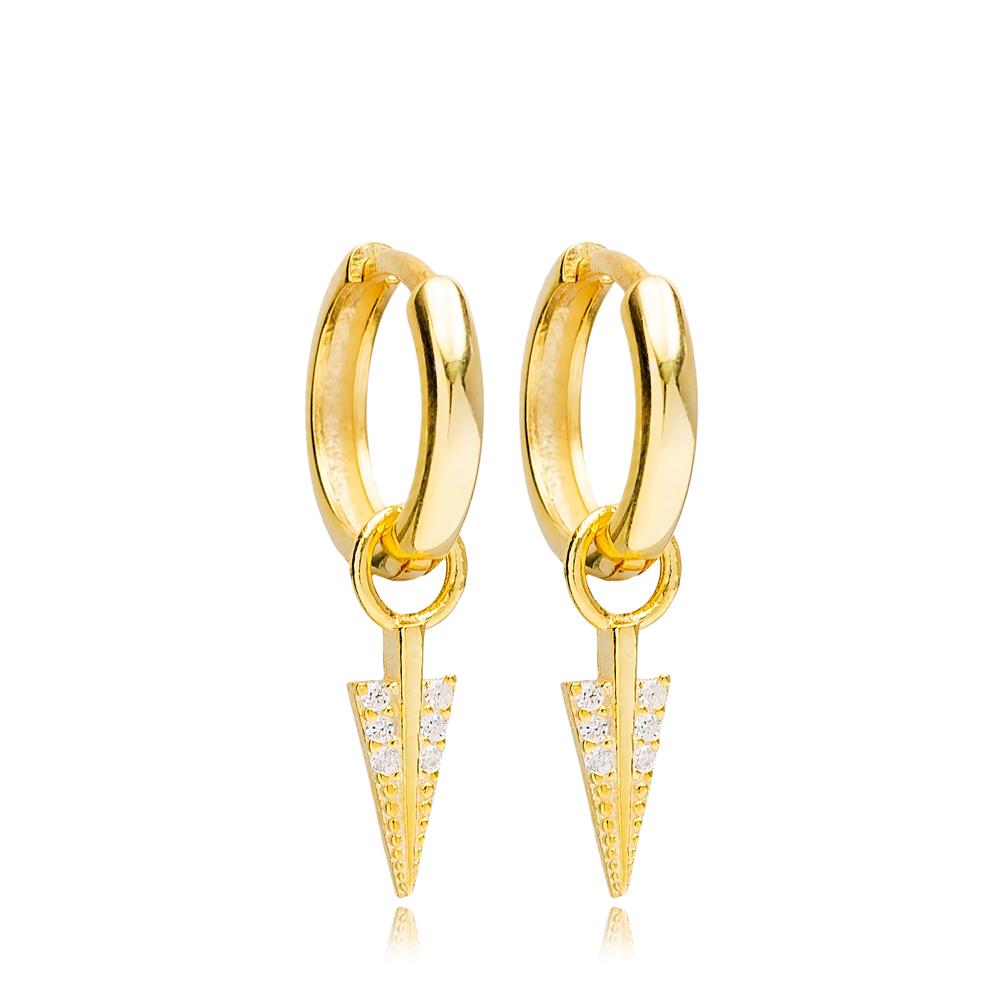 Arrow Shape Hoop Design Handmade Turkish Wholesale 925 Sterling Silver Dangle Earrings Jewelry