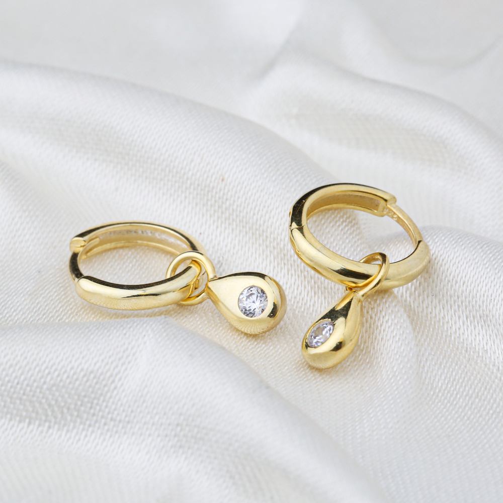 Drop Charm Design 12mm Hoop Handmade Turkish Wholesale 925 Sterling Silver Dangle Earrings Jewelry