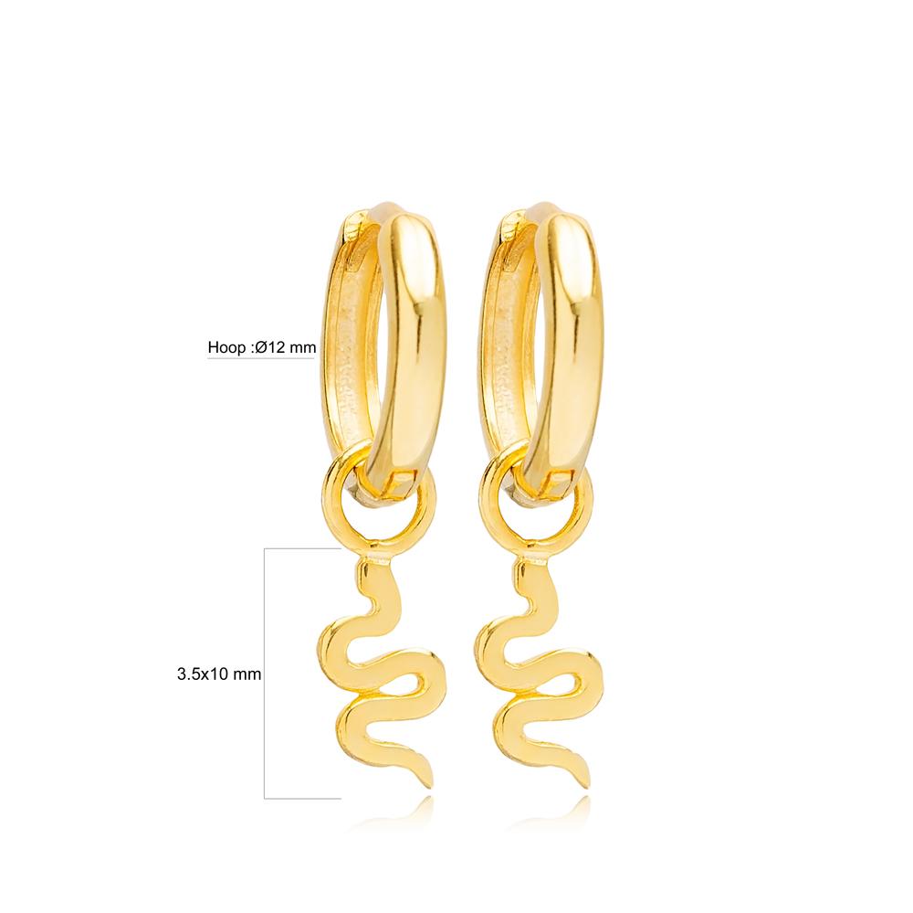 Plain Snake Design 12mm Hoop Handmade Turkish Wholesale 925 Sterling Silver Dangle Earrings Jewelry