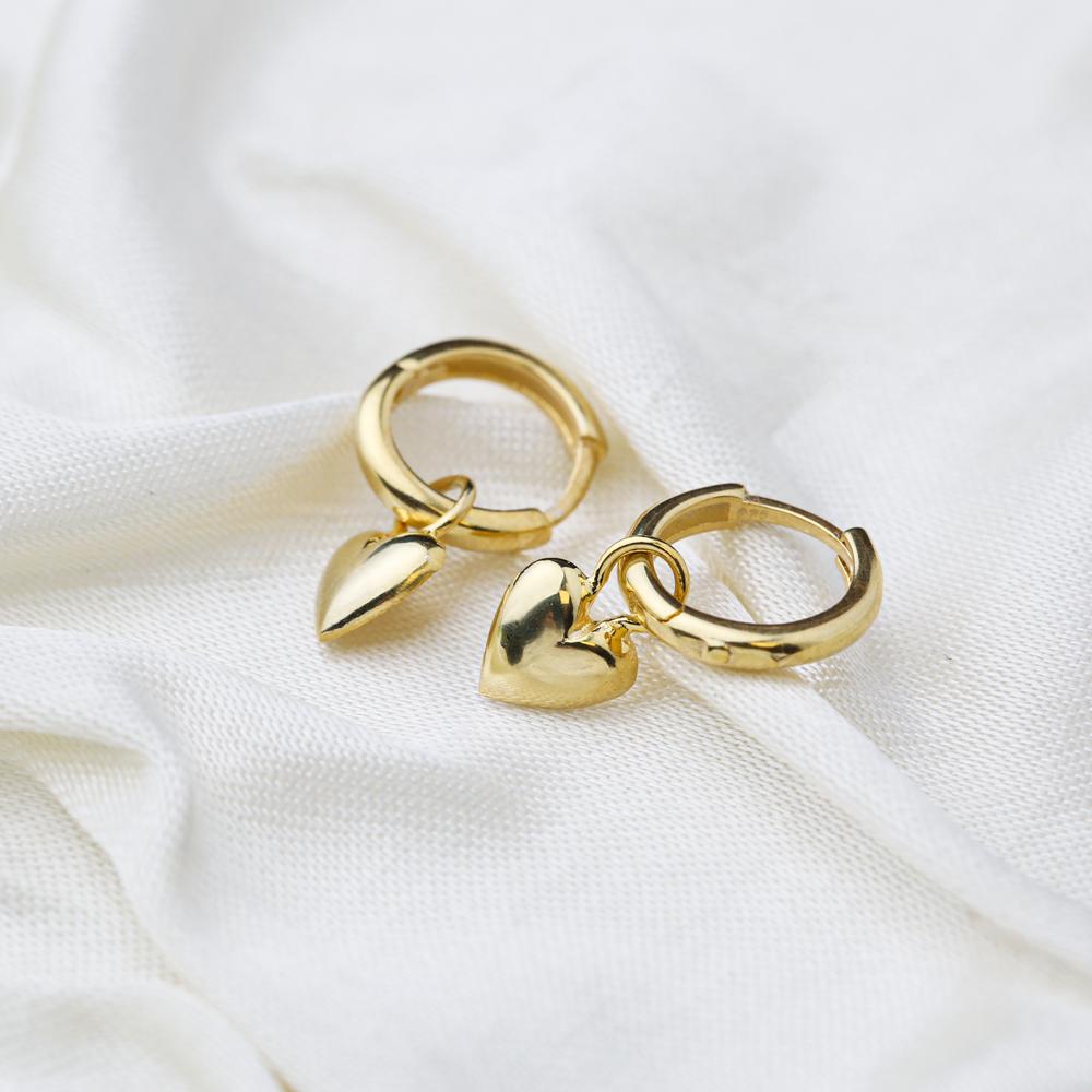 Trendy Heart Shape 12mm Hoop Dangle Earrings Handmade Turkish Wholesale 925 Sterling Silver Jewelry