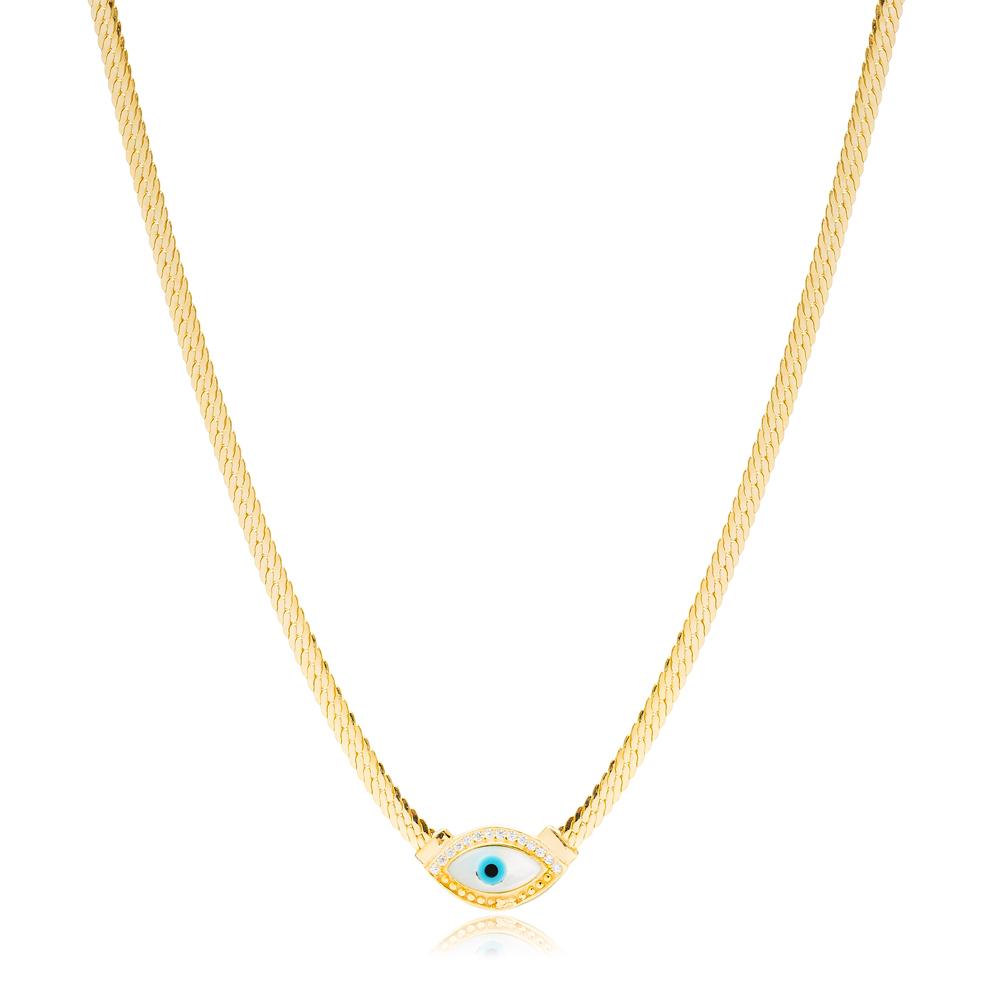 Elegant Evil Eye Curb Chain Design Charm Necklace Handmade Turkish 925 Sterling Silver Jewelry