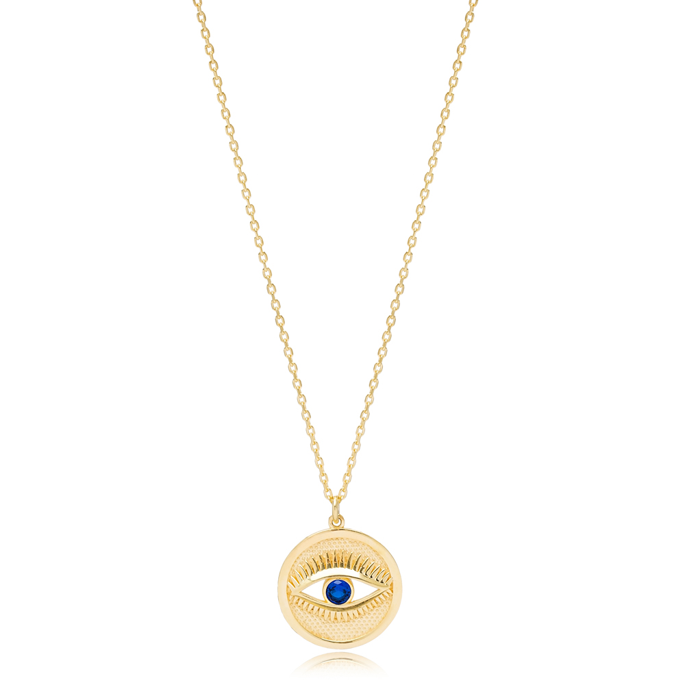 Round Evil Eye Design Sapphire Stone Charm Necklace Handmade Turkish 925 Sterling Silver Jewelry
