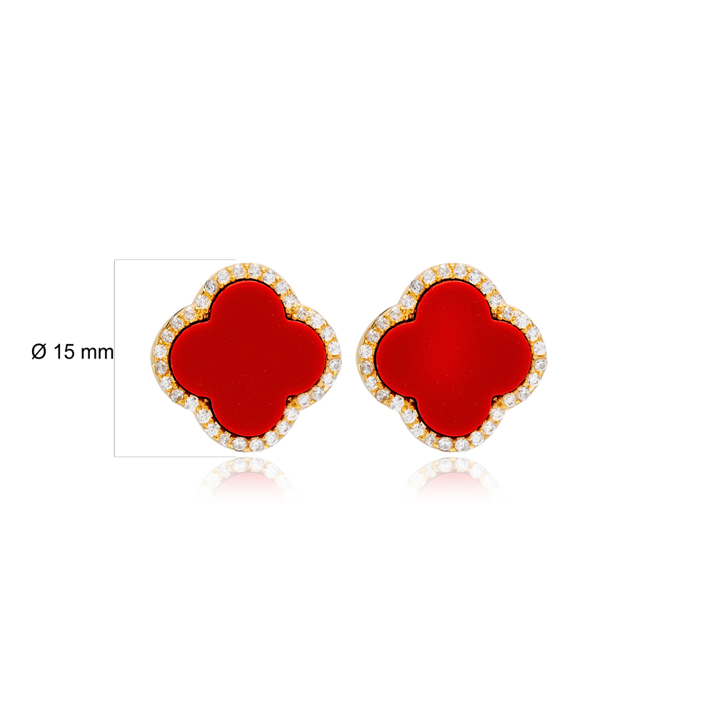 Red Clover Zircon Detailed Design Stud Earrings Handcrafted Turkish Wholesale 925 Sterling Silver Jewelry