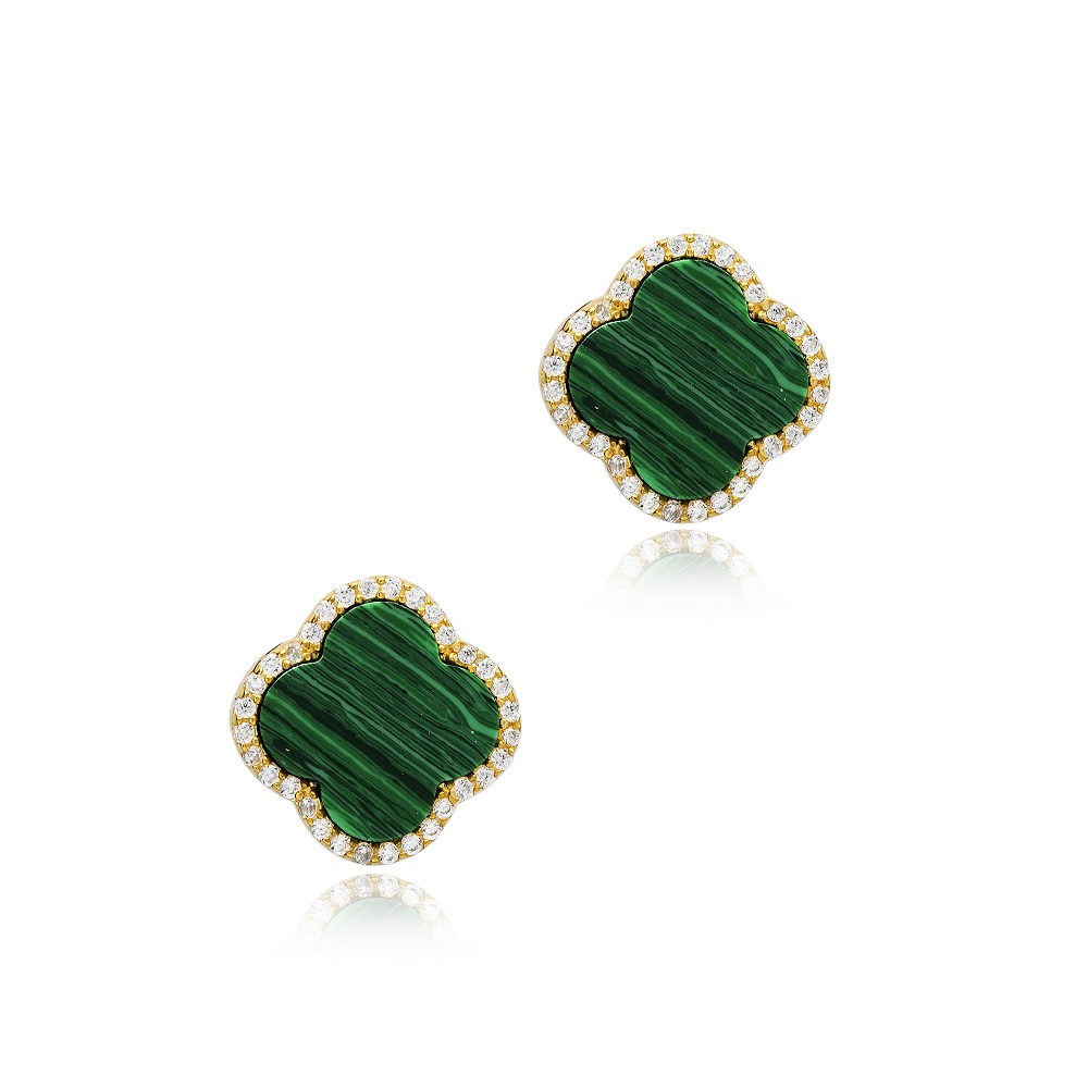 Green Clover Zircon Detailed Design Stud Earrings Handcrafted Turkish Wholesale 925 Sterling Silver Jewelry