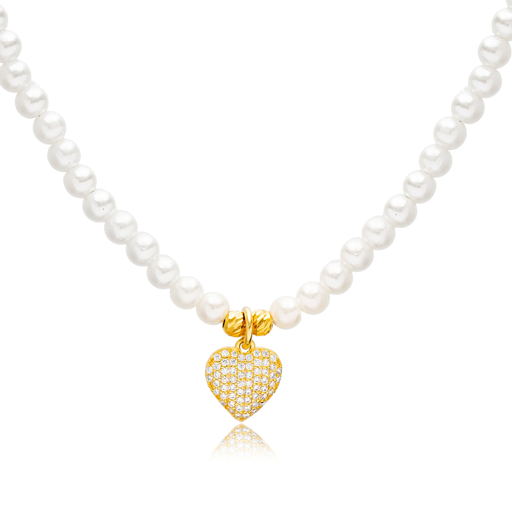 Pearl Design Heart  Charm Choker Necklace Wholesale 925 Sterling Silver Jewelry