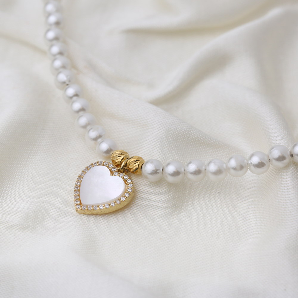 Pearl Mother of Pearl Heart Charm Choker Necklace Wholesale 925 Sterling Silver Jewelry