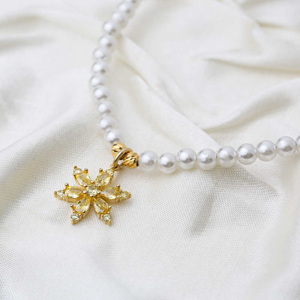 Citrine Flower Charm Pearl Choker Necklace Theia Wholesale 925 Sterling Silver Jewelry