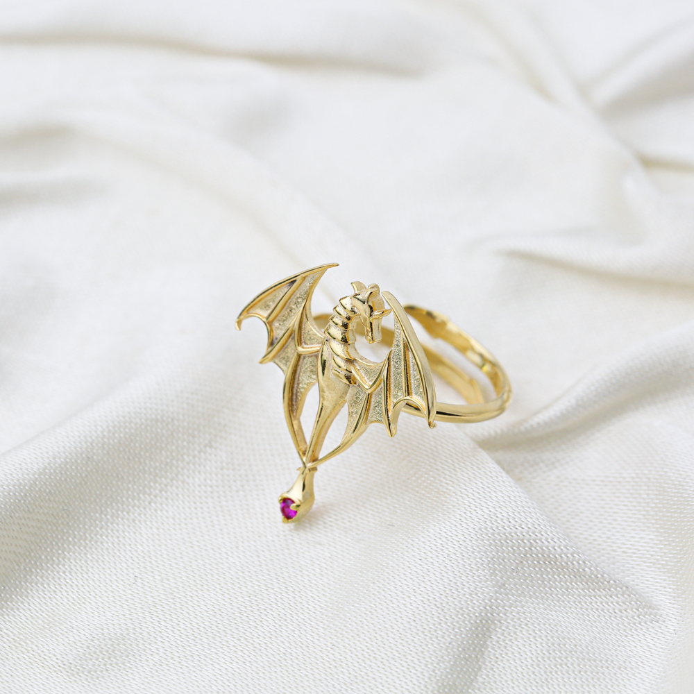 Attractive Dragon Ruby Stone Adjustable Ring Wholesale Turkish 925 Silver Sterling Jewelry