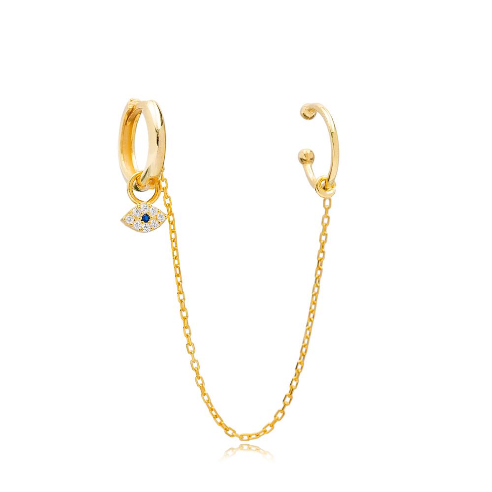 Single Evil Eye Cartilage And Hoop Earrings Turkish Wholesale 925 Sterling Silver Jewelry