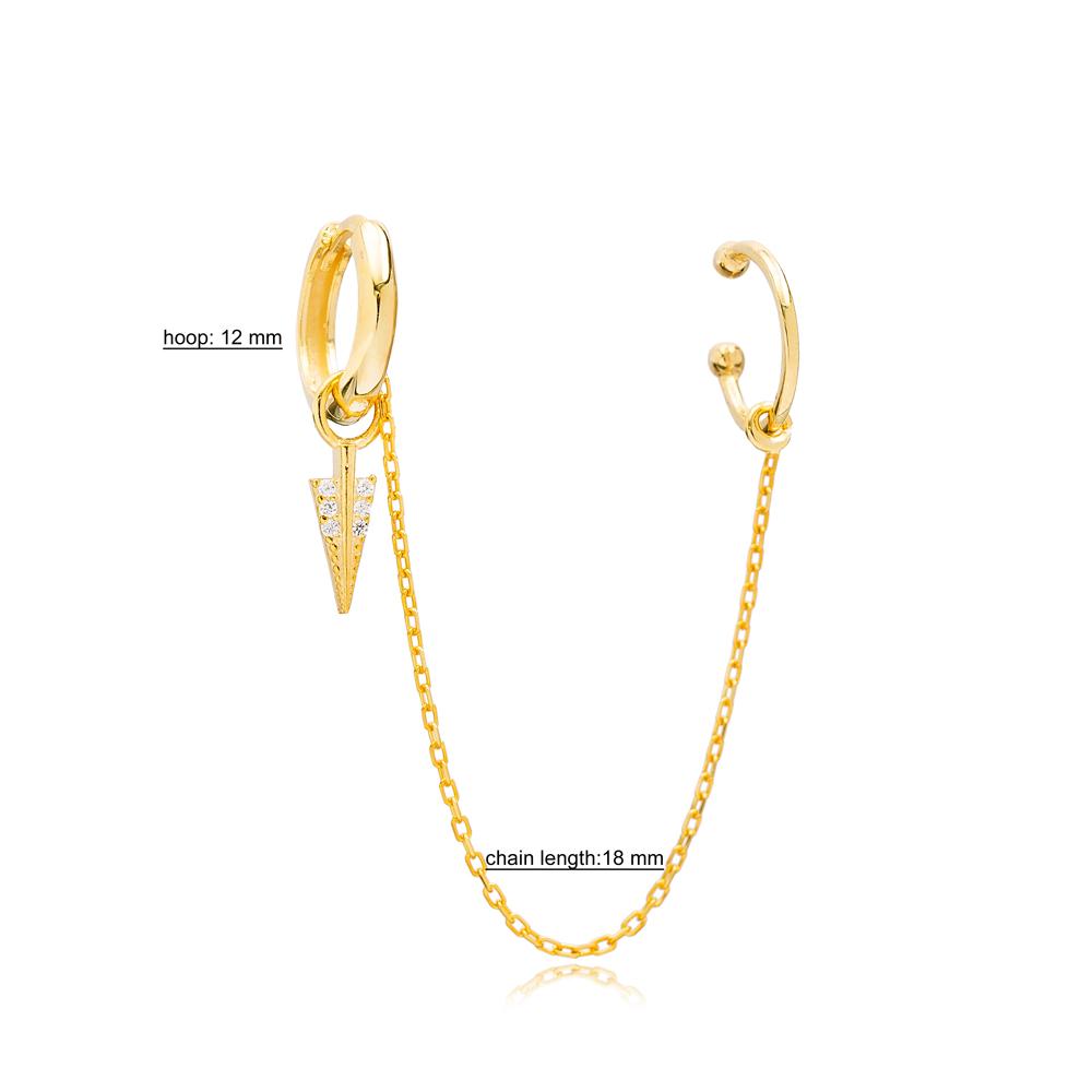 Arrow Zirconia Charm Turkish Wholesale 925 Sterling Silver Cartilage And Hoop Earrings Jewelry