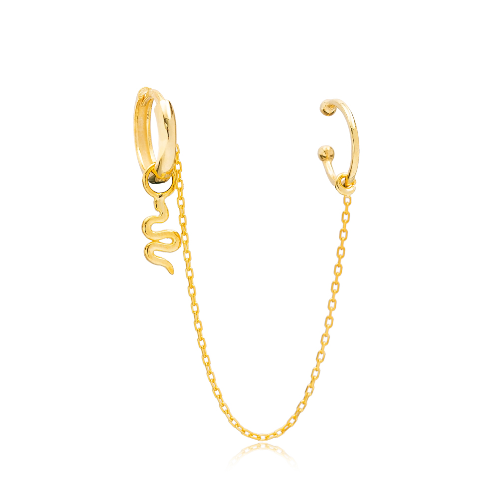 Minimalist Snake Charm Turkish Wholesale 925 Sterling Silver Cartilage And Hoop Earrings Jewelry