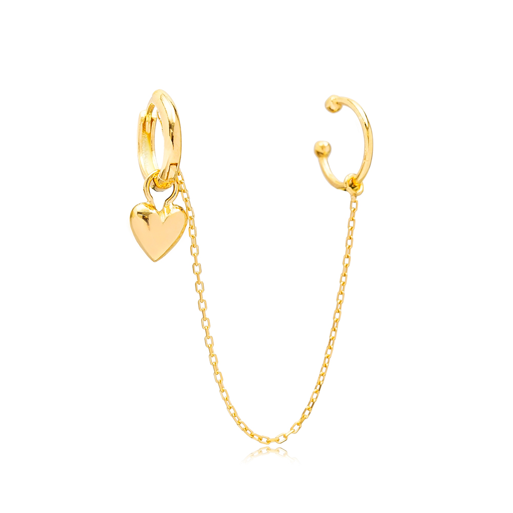 Heart Charm Cartilage And Hoop Earrings Turkish Theia Wholesale 925 Sterling Silver Jewelry
