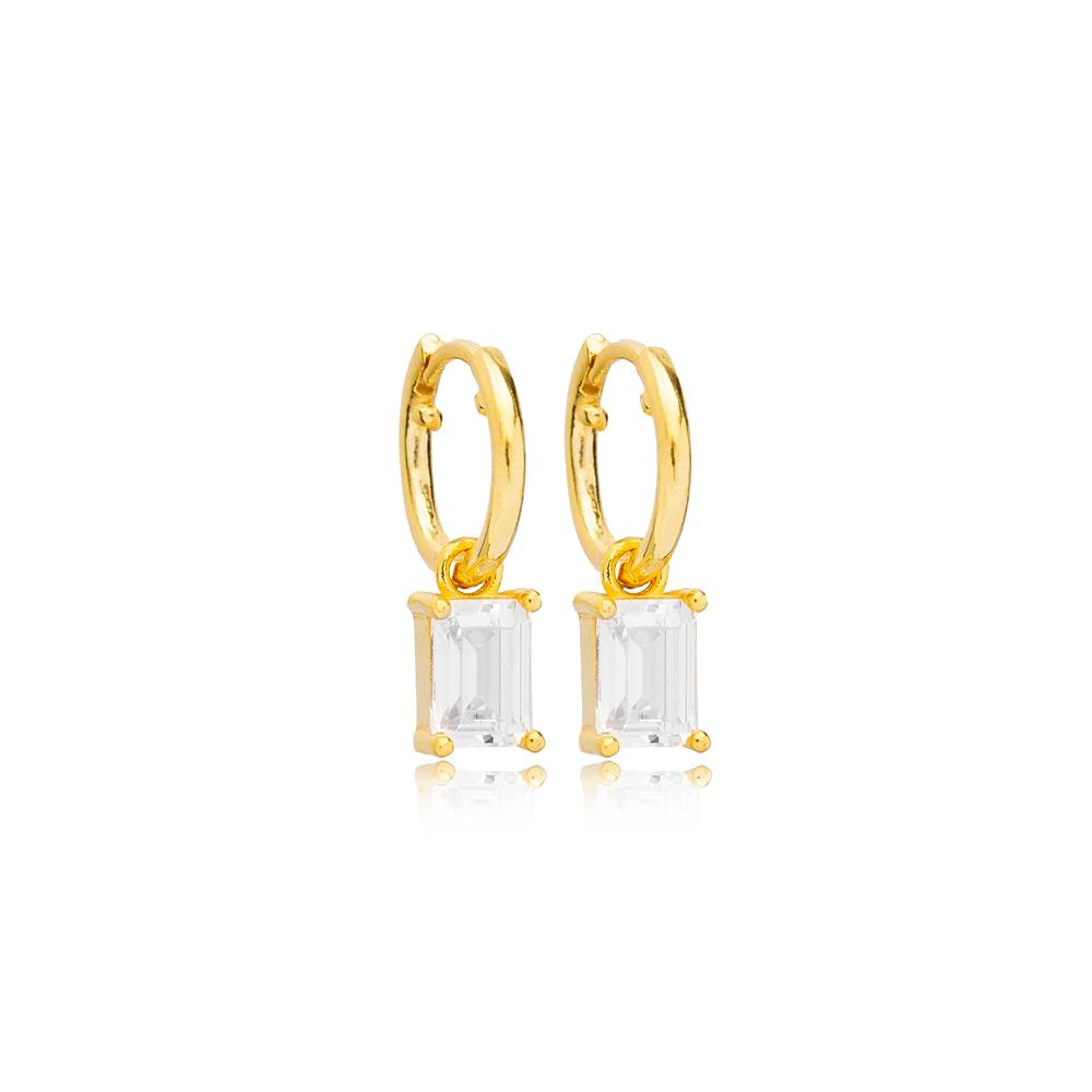 Rectangle Zircon Stone 13mm Hoop Dangle Earrings Handmade Turkish Wholesale 925 Sterling Silver Jewelry