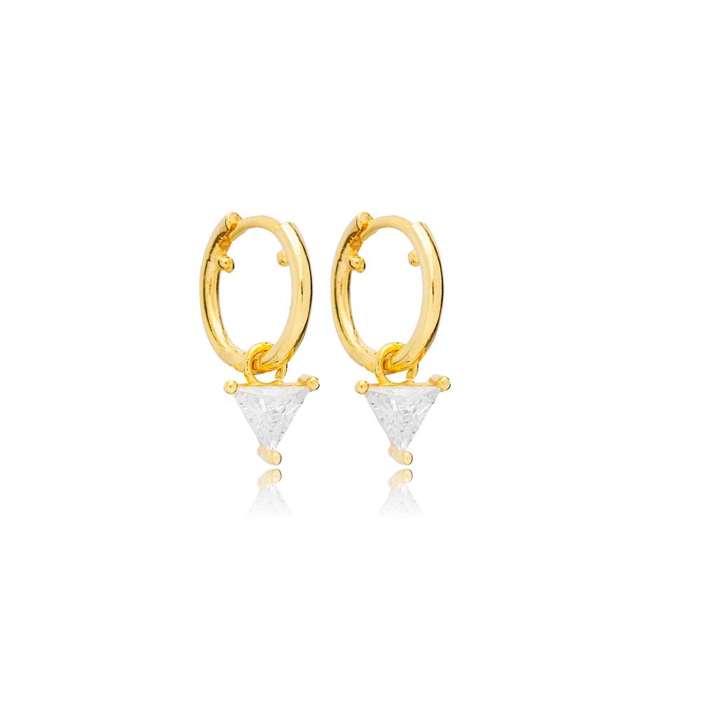 Elegant Triangle Style Zircon Stone Dangle Earrings Handmade Turkish Wholesale 925 Sterling Silver Jewelry