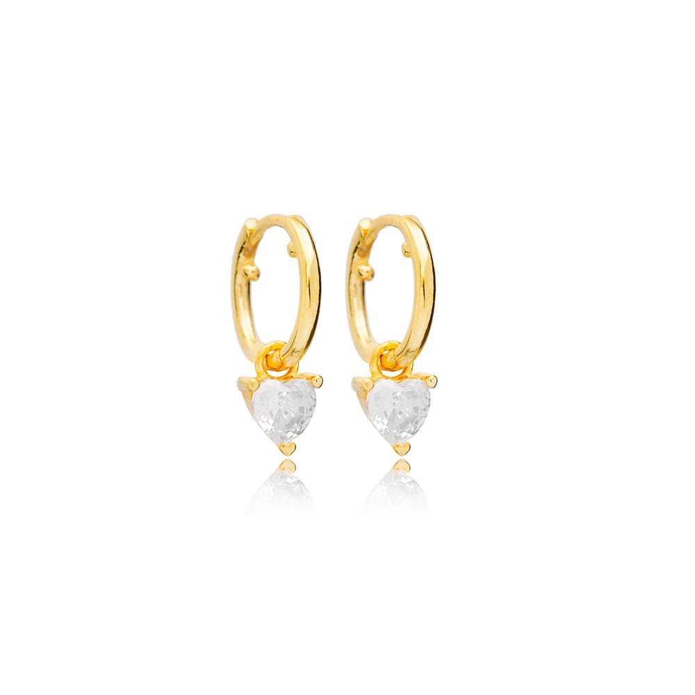 Heart Zircon Stone Charm Dangle Earrings Handmade Turkish Wholesale 925 Sterling Silver Jewelry