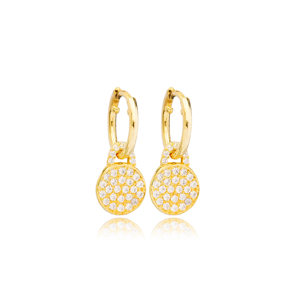 Round Zircon Stone Charm Dangle Earrings Handmade Turkish Theia Wholesale 925 Sterling Silver Jewelry