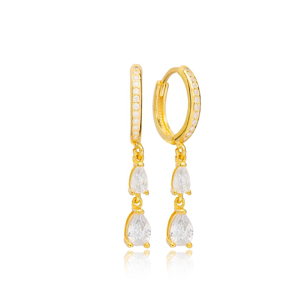 Dual Drop Zircon Stone Charm Handmade Turkish Wholesale 925 Sterling Silver Dangle Earrings Jewelry