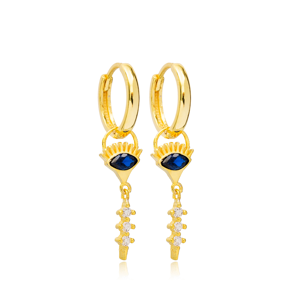 Sapphire Evil Eye and Round Design Dangle Earrings Handmade Turkish Wholesale 925 Sterling Silver Jewelry