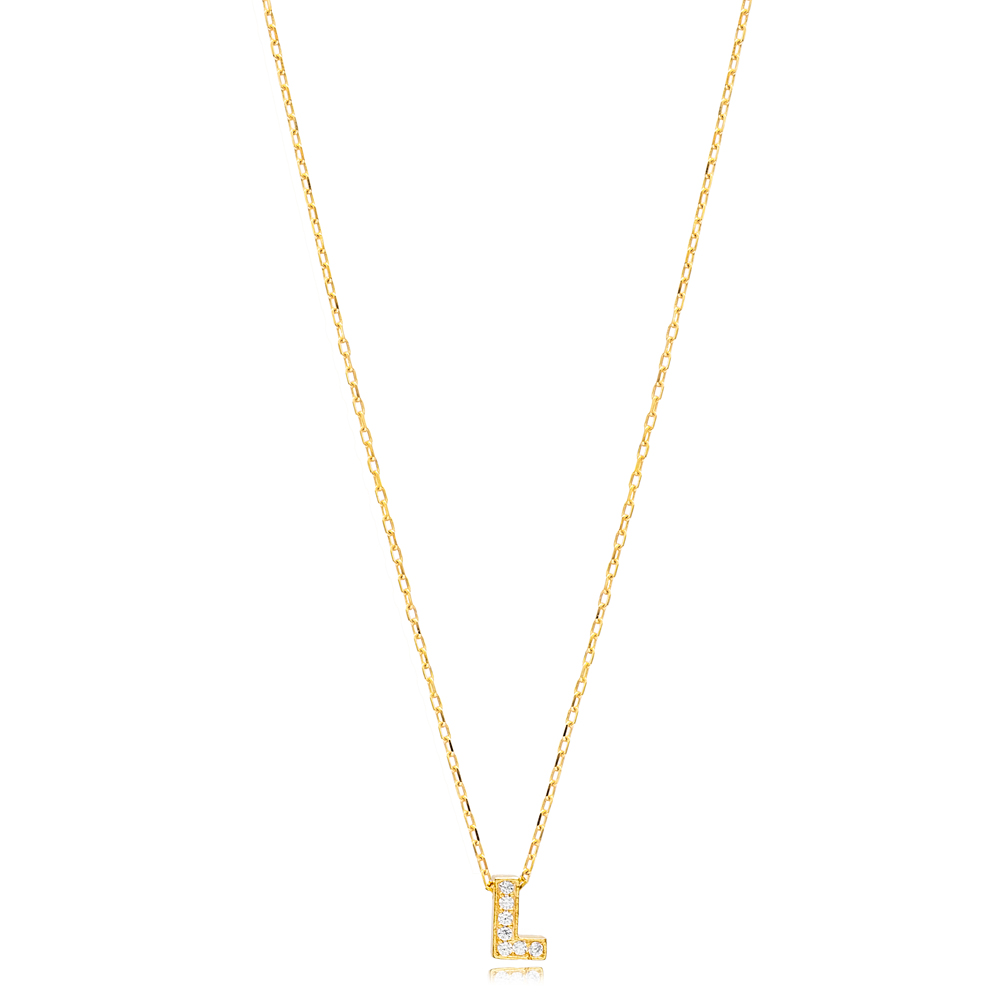 Initial Alphabet letter L Charm Zircon Stone Pendant. Wholesale 925 Sterling Silver Jewelry