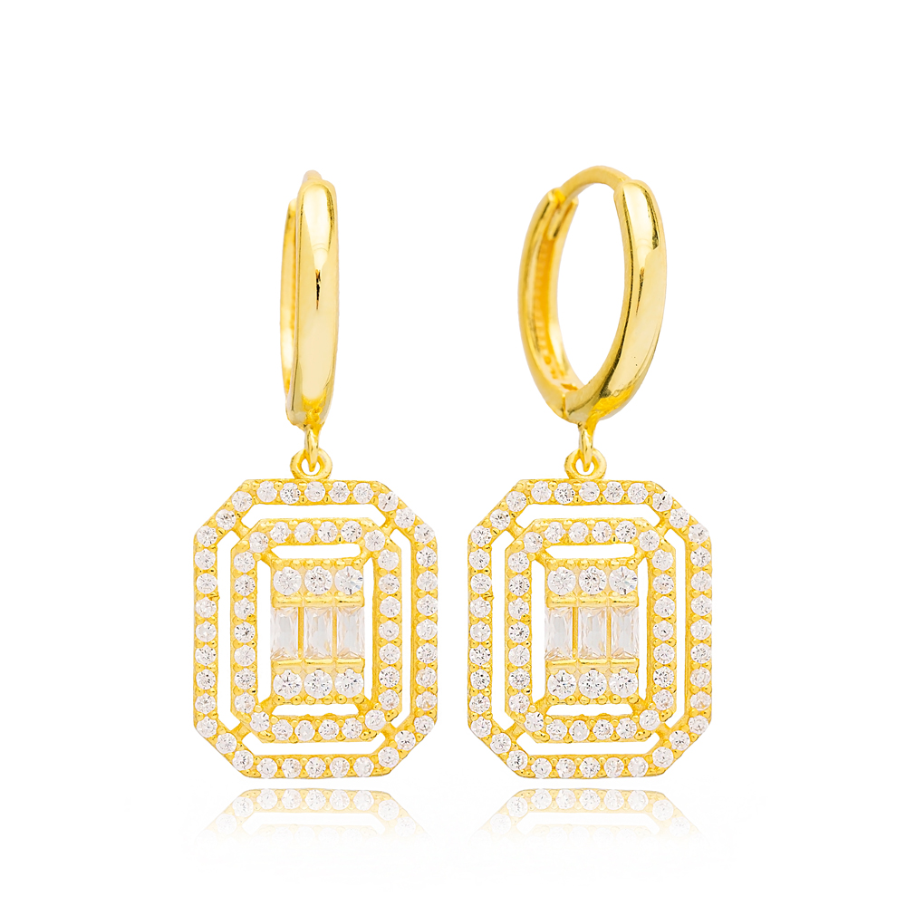 Elegant Rectangle Geometric Dangle Earrings Handmade Turkish Wholesale 925 Sterling Silver Jewelry
