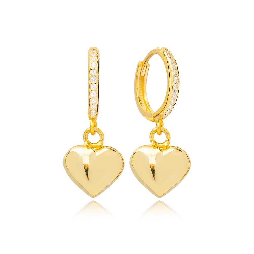 Trend Heart Shape 14mm Zircon Stone Detailed Hoop Dangle Earrings Handmade Turkish Wholesale 925 Sterling Silver Jewelry