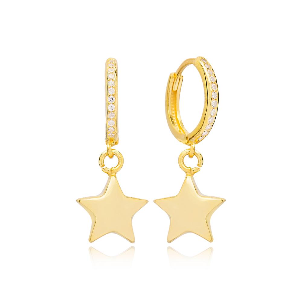 Plain Star Charm 14mm Zircon Stone Detailed Hoop Handmade Turkish Wholesale 925 Sterling Silver Dangle Earrings Jewelry