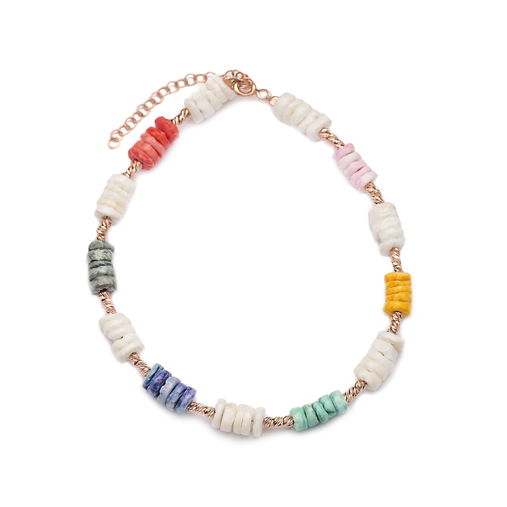 Rainbow Anklet Wholesale Handmade Turkish 925 Sterling Silver Jewelry