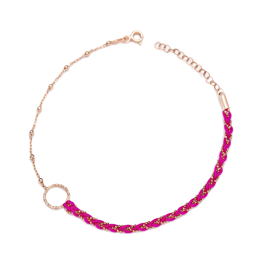 Pink Dainty Unique Design Ball Chain Anklet Wholesale Handmade Turkish 925 Sterling Silver Jewelry