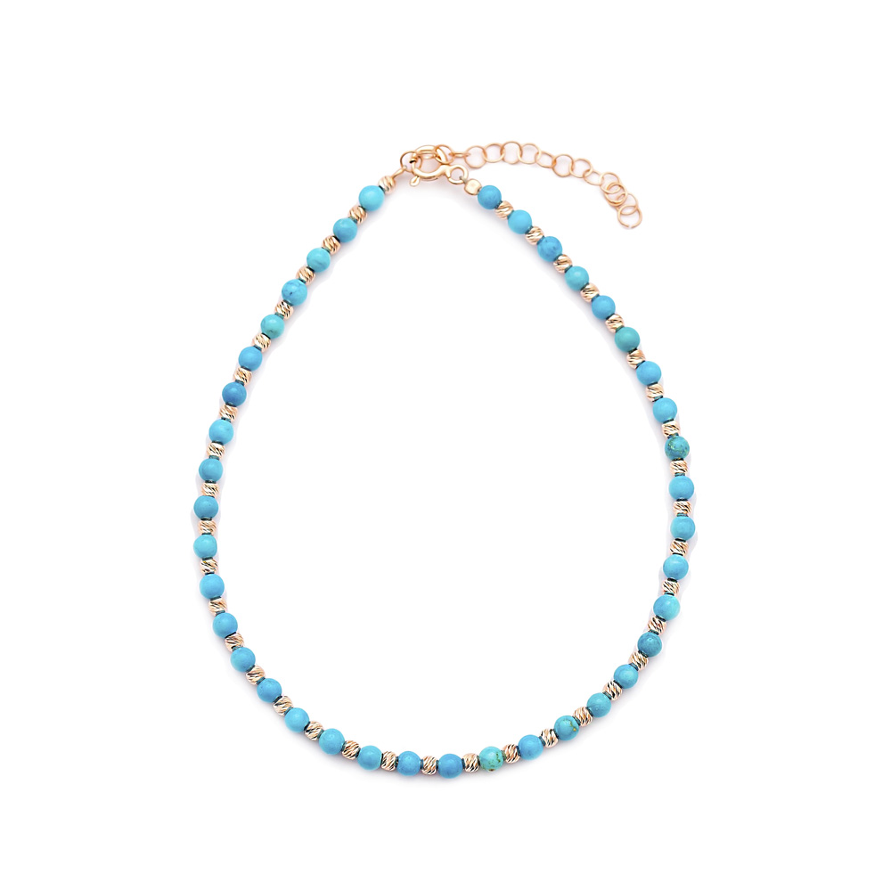 Minimalist Design Turkish Wholesale Handcrafted Silver Turquoise Stone Anklet