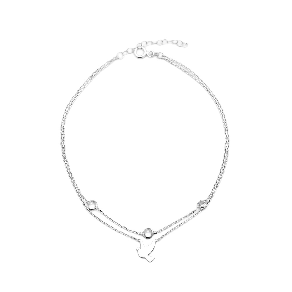 Silver Elegant Swallow Design Anklet Wholesale Handcrafted Silver Jewelry