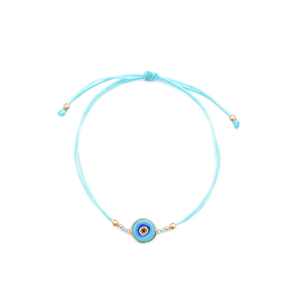Enamel Evil Eye Adjustable Turkish Wholesale Silver Knitting Bracelet