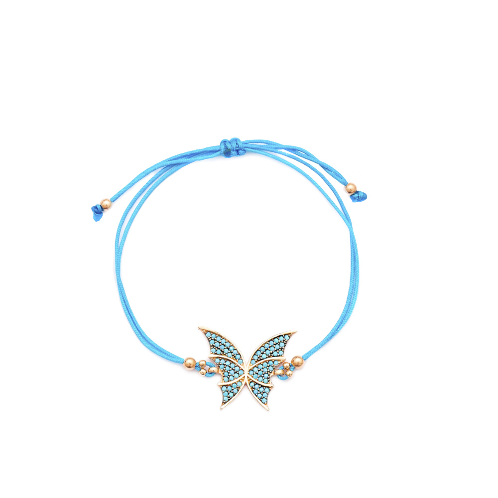 Butterfly Design Handmade Adjustable Turkish Wholesale Silver Knitting Bracelet
