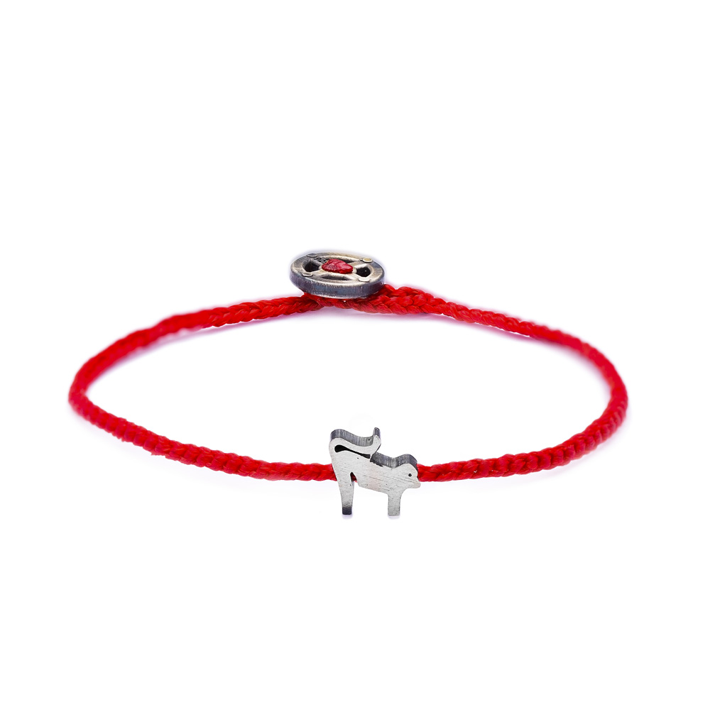 Adjustable Animal Red Knitting Bracelet Handmade Wholesale Silver jewelry