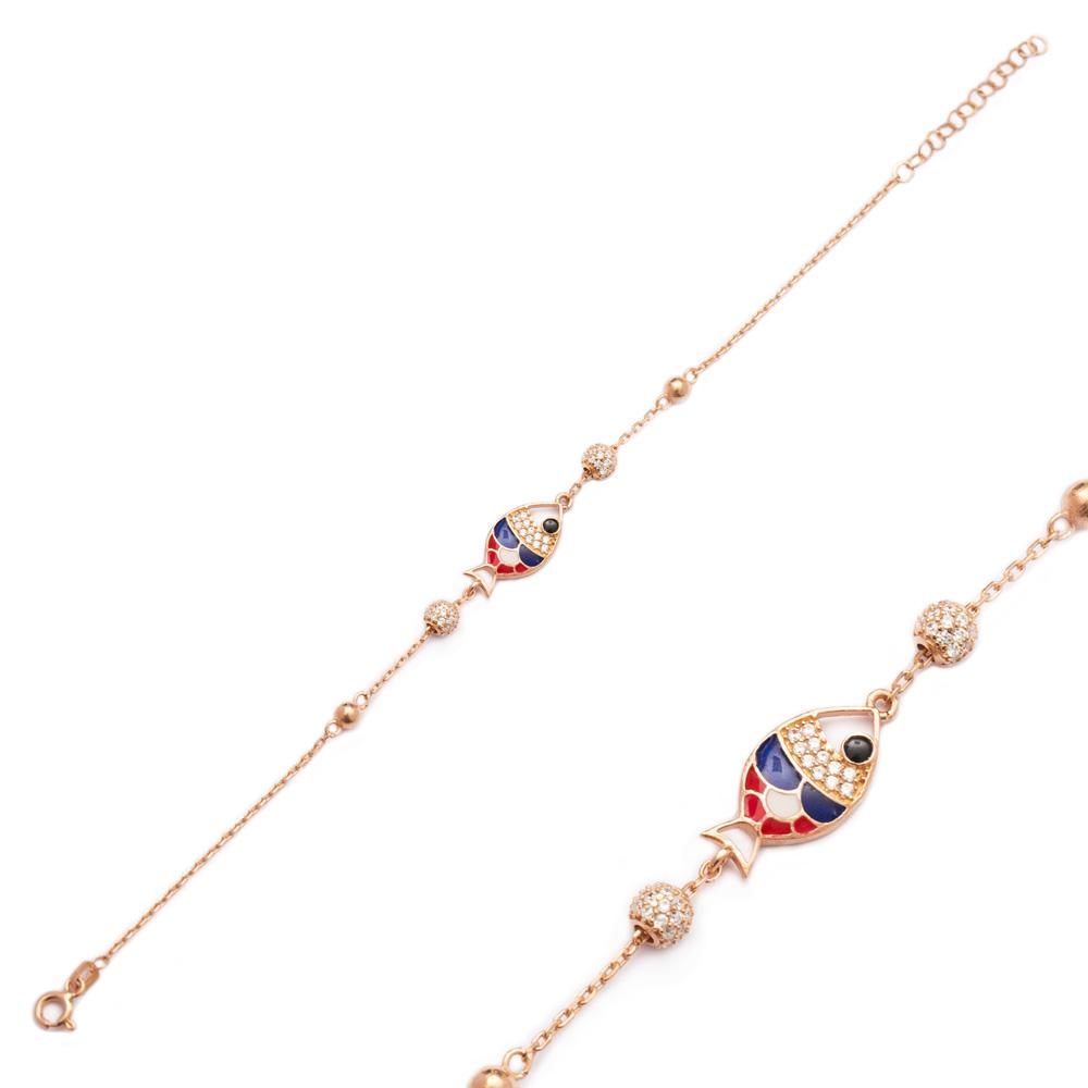 Enamel Fish Design Bracelet Wholesale 925 Sterling Silver Jewelry