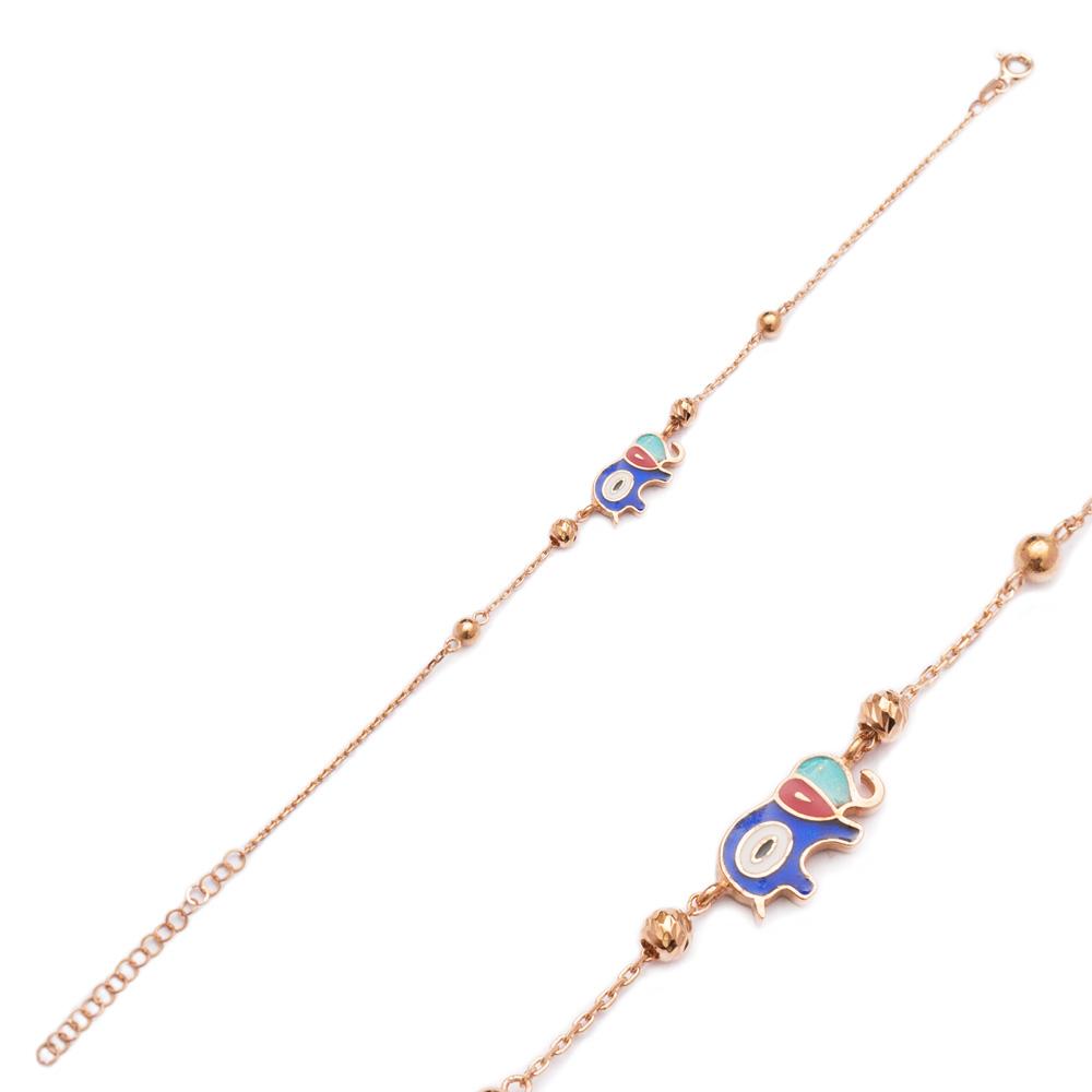 Enamel Evil Eye Elephant Design Bracelet Wholesale 925 Sterling Silver Jewelry