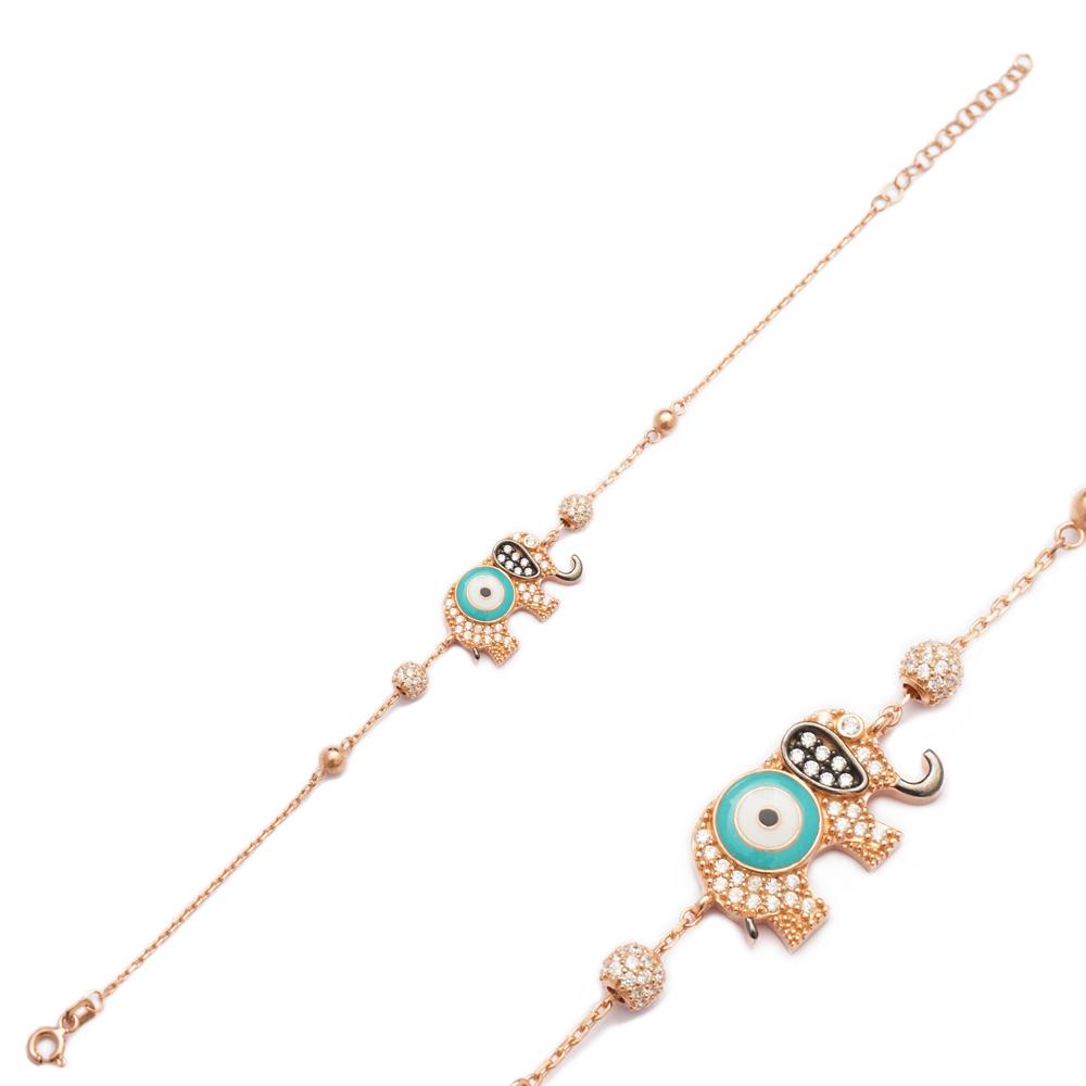 Enamel Elephant Design Evil Eye Bracelet Wholesale 925 Sterling Silver Jewelry