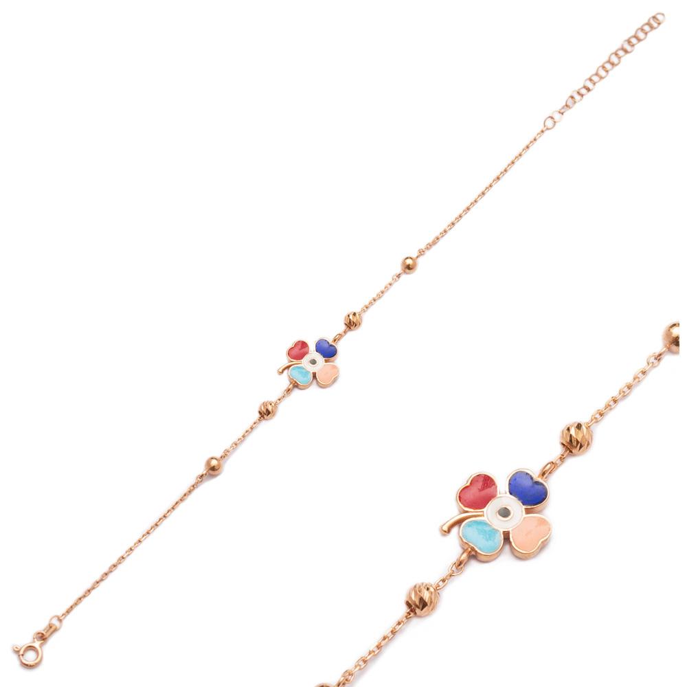 Enamel Clover Design Bracelet Wholesale 925 Sterling Silver Jewelry