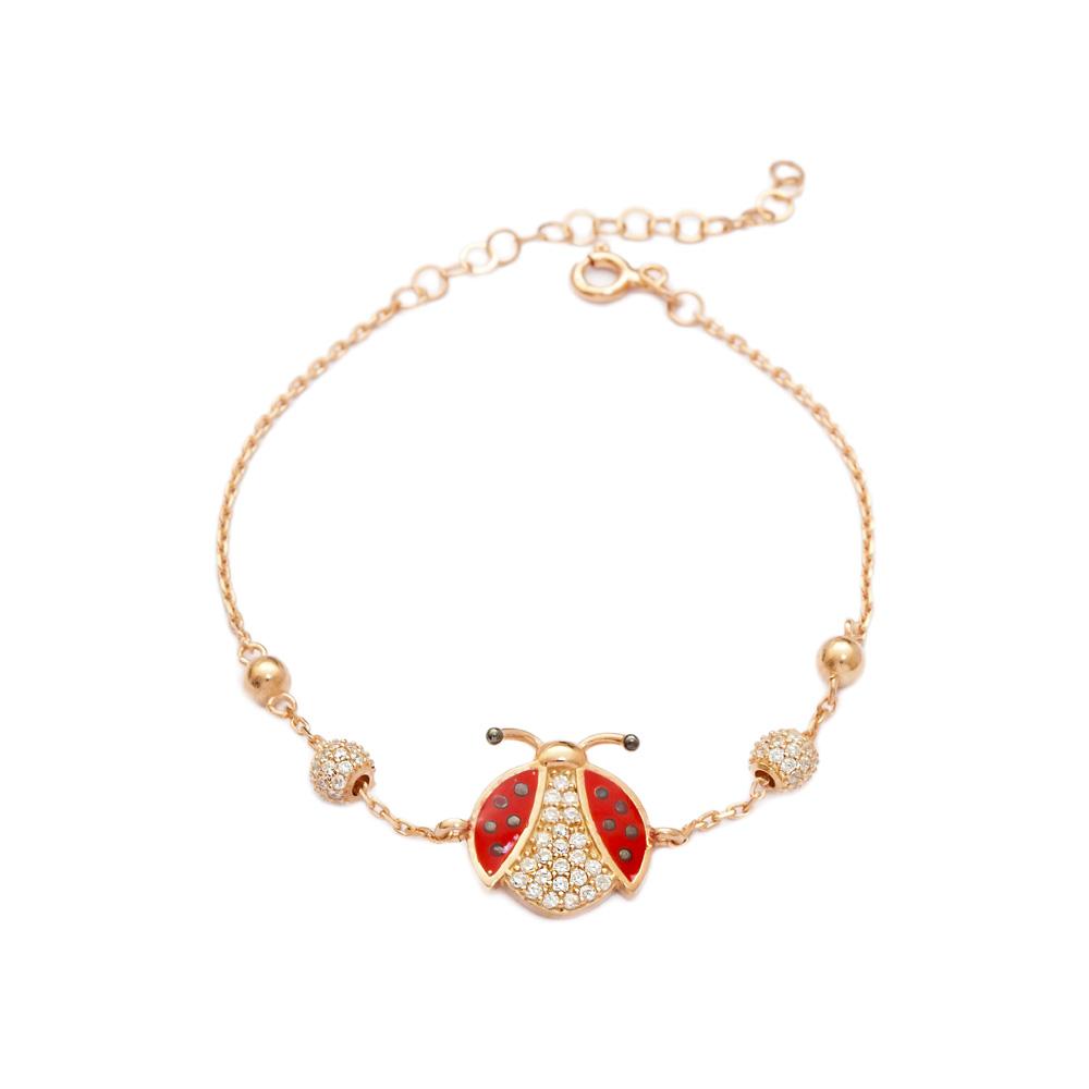 Enamel Ladybug Design Bracelet Wholesale 925 Sterling Silver Jewelry