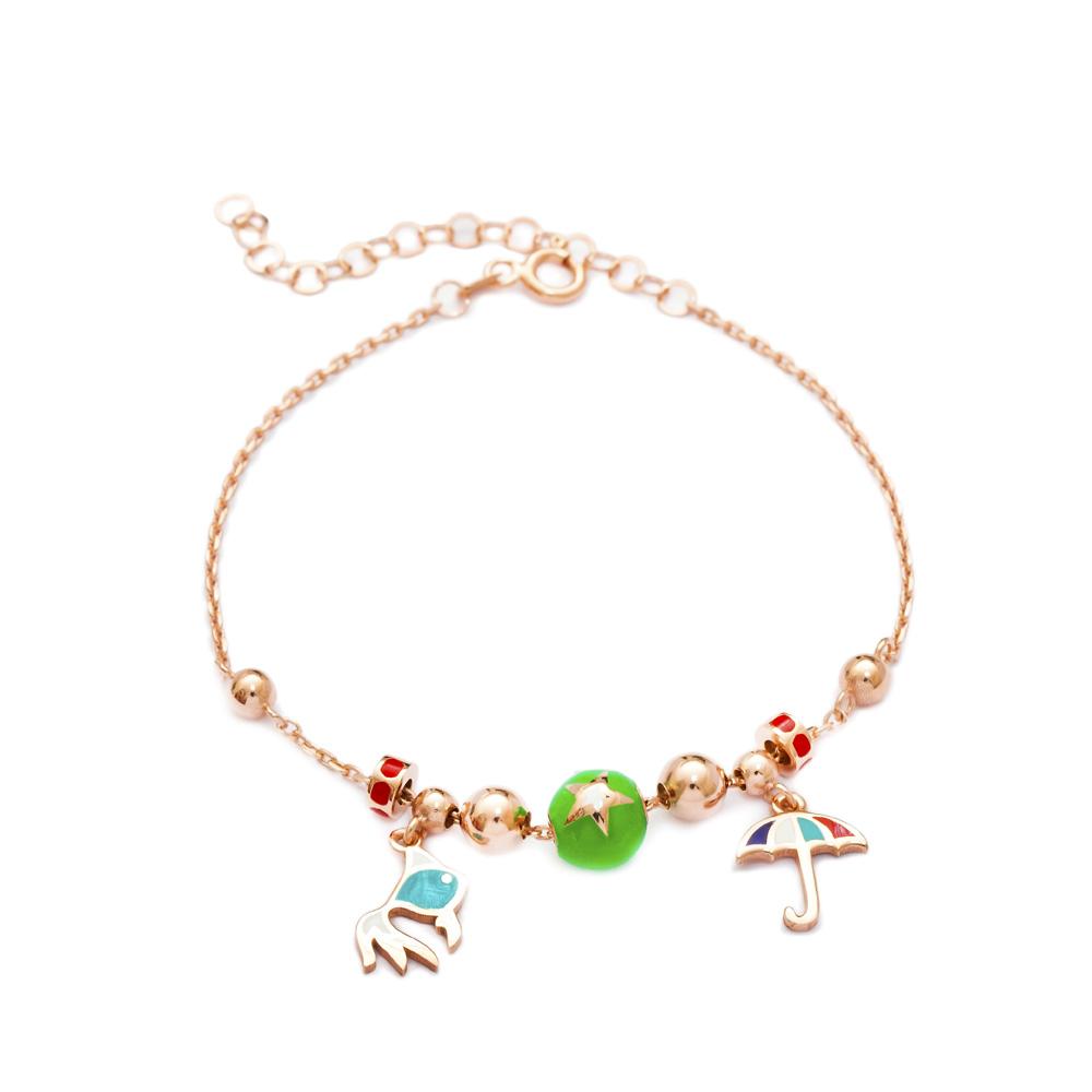 Enamel Fish & Umbrella Charm Bracelet Wholesale 925 Sterling Silver Jewelry