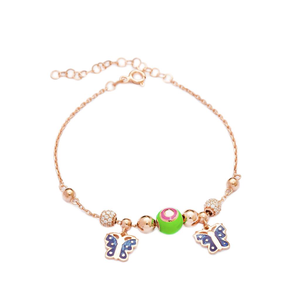 Enamel Butterfly Charm Bracelet Wholesale 925 Sterling Silver Jewelry