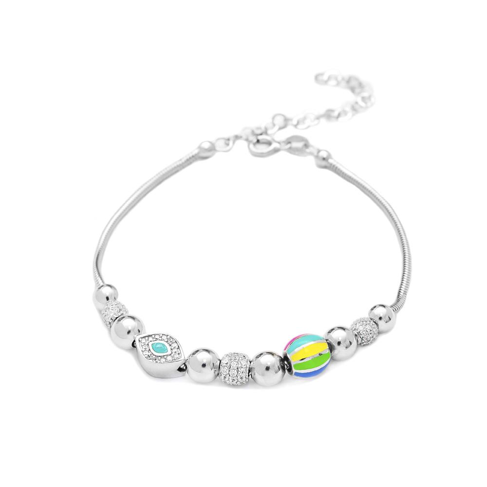 Evil Eye Enamel Charm Bracelet Wholesale 925 Sterling Silver Jewelry