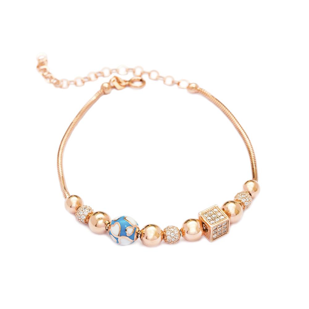 Enamel Heart Charm Bracelet Wholesale 925 Sterling Silver Jewelry