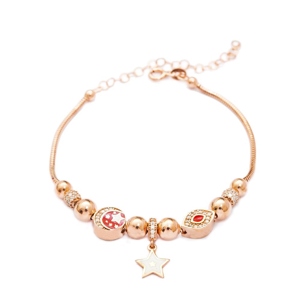 Enamel Evil Eye & Star Charm Bracelet Wholesale 925 Sterling Silver Jewelry