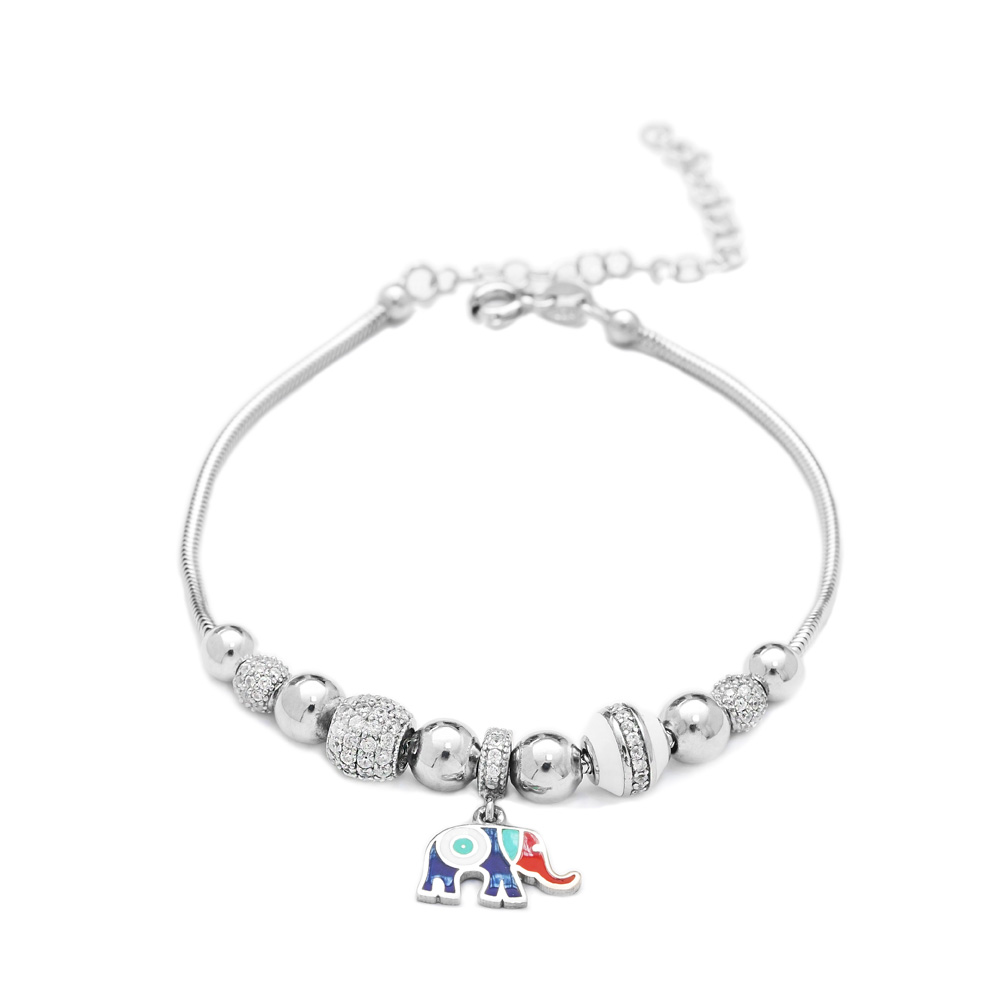 Enamel Elephant Charm Bracelet Wholesale 925 Sterling Silver Jewelry